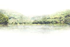 Abstracte Bergheuvel op waterverf het schilderen achtergrond stock foto's