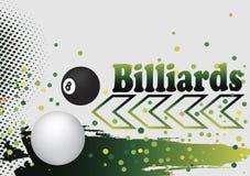 Abstracte biljartachtergrond met groene pijl en kleurrijke punten Royalty-vrije Stock Fotografie
