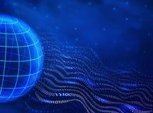 Abstracte binaire code in de stijl van golven en de bol op een blauwe achtergrond technologisch ontwerpconcept digitaal stock illustratie