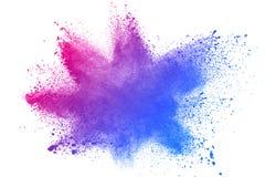 Abstracte blauw-roze stofexplosie op witte achtergrond royalty-vrije stock foto