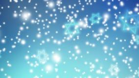 Abstracte blauwe achtergrond, dalende lichten en Joodse sterren HD de Israëlische animatie voor Joodse vakantie Hannukah, Pesach, stock illustratie
