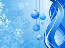 Abstracte blauwe achtergrond met de ballen van Kerstmis Stock Afbeeldingen