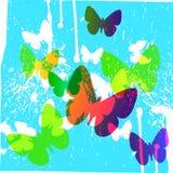 Abstracte Blauwe Achtergrond met Gekleurde Vlinders Royalty-vrije Stock Fotografie