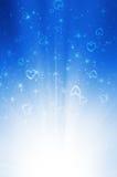 Abstracte blauwe achtergrond met hart Stock Afbeelding