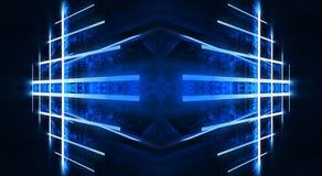 Abstracte blauwe achtergrond met lijnen en stralen van blauw neonlicht Bezinning in ruimte van symmetrie Abstracte lichte tunnel  vector illustratie