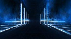 Abstracte blauwe achtergrond met lijnen en stralen van blauw neonlicht Bezinning in ruimte van symmetrie Abstracte lichte tunnel  royalty-vrije illustratie