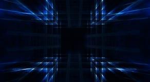 Abstracte blauwe achtergrond met lijnen en stralen van blauw neonlicht Bezinning in ruimte van symmetrie Abstracte lichte tunnel  stock illustratie