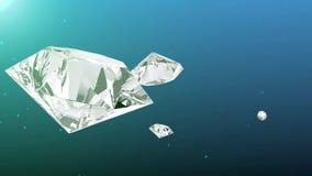 Abstracte blauwe achtergrond met roterende diamanten stock footage