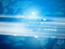 Abstracte blauwe achtergrond met wereldkaart Stock Foto