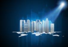 Abstracte blauwe achtergrond met wereldmodel Royalty-vrije Stock Afbeeldingen
