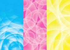Abstracte blauwe achtergrond, roze, geel vector illustratie
