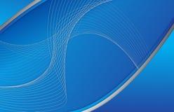 Abstracte blauwe achtergrondgolfillustratie Stock Afbeeldingen