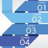 Abstracte Blauwe Banners in Stap Vier. Royalty-vrije Stock Afbeeldingen