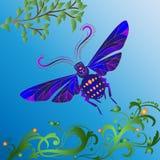 Abstracte blauwe bij op een blauwe achtergrond met bladeren, bloemen en krullen royalty-vrije illustratie