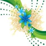 Abstracte blauwe bloemen Royalty-vrije Stock Afbeeldingen