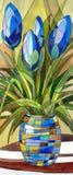 Abstracte blauwe bloemen in een vaas stock illustratie