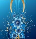 Abstracte blauwe bloemen op grungeachtergrond Royalty-vrije Stock Afbeeldingen
