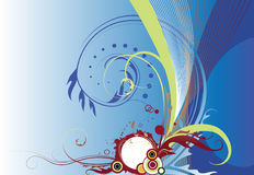 Abstracte blauwe bloemenachtergrond Stock Afbeelding