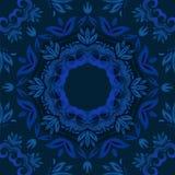 Abstracte blauwe bloemenachtergrond met rond vectorpatroon Royalty-vrije Stock Afbeeldingen
