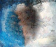 Abstracte Blauwe & Bruine Hand Geschilderde Canvasachtergrond Royalty-vrije Stock Afbeelding