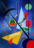Abstracte blauwe die achtergrond, door de schilder wordt geïnspireerd kandinskij Stock Afbeelding