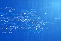 Abstracte blauwe digitale communicatietechnologieachtergrond royalty-vrije illustratie