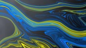 Abstracte Blauwe en Gele Psychedelische Krommen op de Zwarte Achtergrond van Gradated vector illustratie