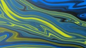 Abstracte Blauwe en Gele Psychedelische Krommen op Zwarte Achtergrond royalty-vrije illustratie