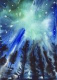 Abstracte blauwe en groene sterrige hemelachtergrond Stock Foto