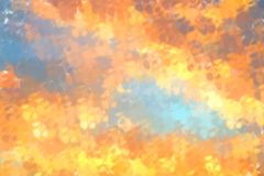 Abstracte blauwe en oranje digitale geschilderde patroonachtergrond Stock Foto