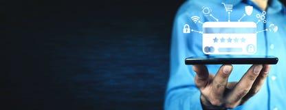 abstracte blauwe foto Beveilig online betaling Internet en online het winkelen royalty-vrije stock afbeelding