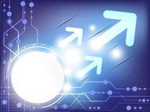 Abstracte blauwe gekleurde technologie-achtergrond met divers technologisch element en heldere gloed Stock Foto