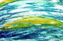 Abstracte blauwe gele contrasten, de achtergrond van de verfwaterverf, abstracte het schilderen waterverfachtergrond stock foto's