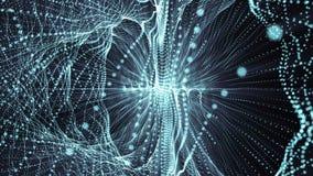 Abstracte blauwe geometrische achtergrond met het bewegen van lijnen en punten het van een lus voorzien CG animatie vector illustratie