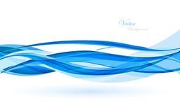 Abstracte blauwe golven - het concept van de gegevensstroom Vector illustratie Stock Afbeeldingen