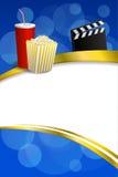 Abstracte blauwe gouden rood als achtergrond drinkt van de de kleppenraad van de popcornfilm van het het kaderlint de gouden vert Royalty-vrije Stock Afbeeldingen