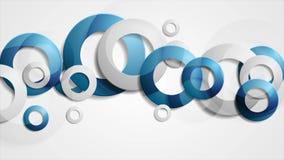Abstracte blauwe grijze ringen collectieve geanimeerde achtergrond royalty-vrije illustratie