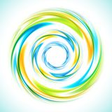 Abstracte blauwe, groene en gele wervelingscirkel stock illustratie