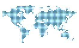 Abstracte blauwe kaart van wereld met cirkels Stock Fotografie