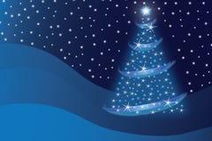 Abstracte blauwe Kerstmisboom royalty-vrije illustratie