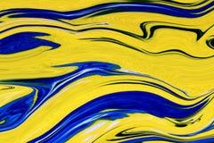 Abstracte Blauwe Krullentextuur op Gele Achtergrond royalty-vrije illustratie