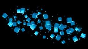 Abstracte Blauwe Kubussen Donkere Achtergrond Stock Foto