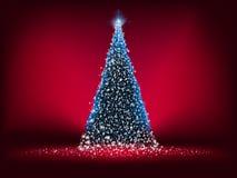 Abstracte blauwe lichte Kerstmisboom op rood. EPS 8 Stock Afbeeldingen