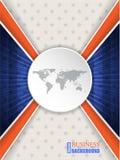 Abstracte blauwe oranje brochure met wereldkaart Stock Foto's