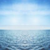 Abstracte blauwe overzees als achtergrond Vector illustratie Stock Afbeeldingen