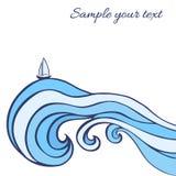 Abstracte blauwe overzeese golven met zeilboot die op witte achtergrond, Vector grafische illustratie, decoratief kader worden ge vector illustratie