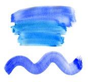 Abstracte blauwe strepenwaterverf het schilderen achtergrond stock afbeelding