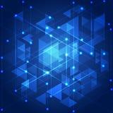 Abstracte blauwe technologie geometrische achtergrond, illustratie Stock Foto