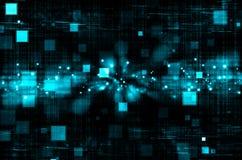 Abstracte blauwe technologie op donkere achtergrond Royalty-vrije Stock Foto's