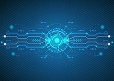 Abstracte blauwe technologieachtergrond Vectorcirkel en elektriciteitslijn met blauwe elektronische cyclus royalty-vrije illustratie